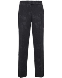Black Textured Skinny Pants