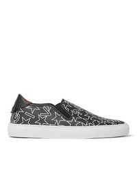 Givenchy Star Print Textured Leather Slip On Sneakers