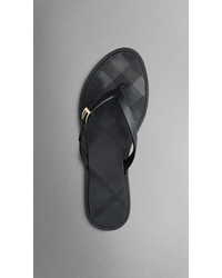 Burberry Embossed Check Flip Flops