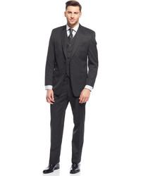 Sean John Black Mini Stripe Vested Suit