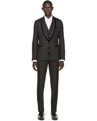 Dolce & Gabbana Black Velvet Trim Three Piece Tuxedo