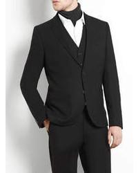 Topman Black Flannel Skinny Suit Jacket