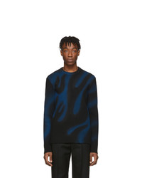 Balenciaga Black And Blue Flame Sweater