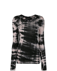 Diesel Black Gold Long Sleeve T Shirt With Tie Dyed Stripes