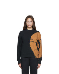 Proenza Schouler Black And Brown Tie Dye Fluid Logo Sweatshirt