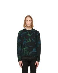 Saint Laurent Black And Green Tie Dye Rive Gauche Logo Sweatshirt