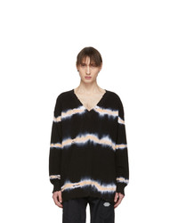 MSGM Black Tie Dye V Neck Sweater