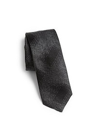 Hugo Plaid Silk Tie Black