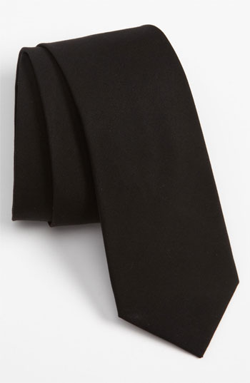 The Tie Bar Woven Cotton Tie Black Regular