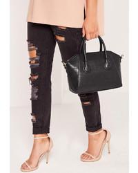 Missguided Mini Winged Croc Tote Bag Black
