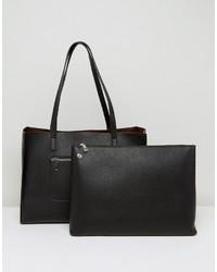 Asos Structured Shopper Bag With Zip Front Pocket