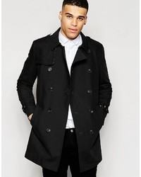 Asos Brand Shower Resistant Double Breasted Trench In Black