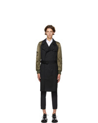 Neil Barrett Black And Khaki Bomber Sleeve Trench Coat