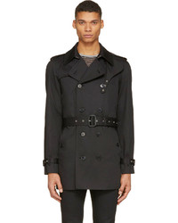 Saint Laurent Black Classic Trench Coat