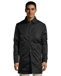 Prada Black Gabardine Button Front Raincoat