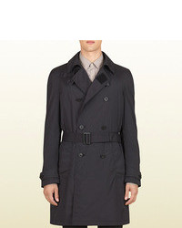 Gucci Black Light Matte Stretch Nylon Double Breasted Trench From Viaggio Collection
