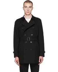 Burberry Black Mid Length Kensington Trench Coat
