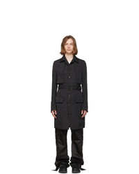 Rick Owens Black Narrow Trench Cape Coat
