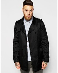 Asos Brand Trench Coat With Belt In Black