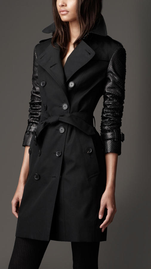 black trenchcoat burberry long gabardine python sleeve trench coat where to buy how to wear. Black Bedroom Furniture Sets. Home Design Ideas