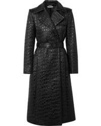Givenchy Double Breasted Croc Effect Shell Trench Coat