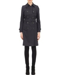 Barneys New York Double Breasted Trench Coat Black