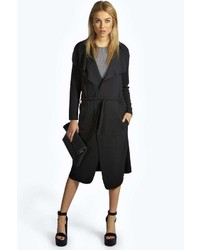 Boohoo Karrie Shawl Collar Belted Crepe Duster