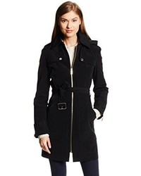 Kenneth Cole New York Belted Front Zip Trench Coat With Detachable Hood