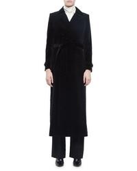 Saint Laurent Long Double Breasted Velvet Trench Coat Black
