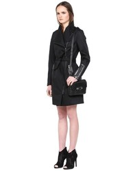 Mackage Estelle Black Trench Coat With Leather Trim | Where to buy