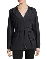 Michael Kors Michl Kors Gathered Neck Belted Trench Coat Black
