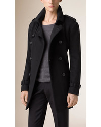 Burberry Mid Length Virgin Wool Cashmere Trench Coat