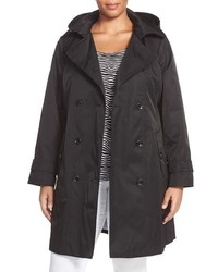 London Fog Plus Size Double Breasted Trench Coat With Detachable Hood