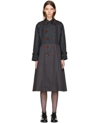 Comme des Garcons Tricot Comme Des Garons Black Taffeta Double Breasted Trench Coat