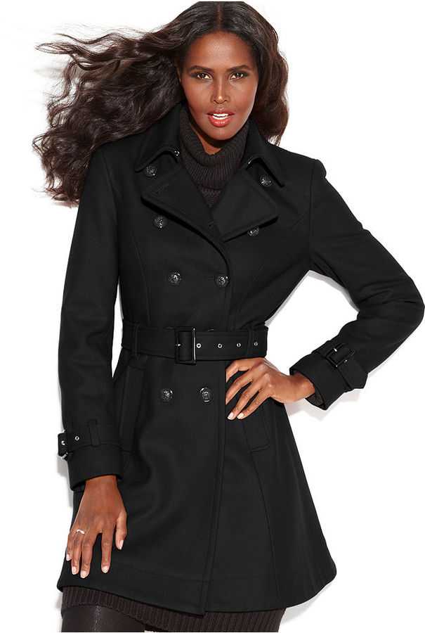 INC International Concepts Wool Blend Belted Trench Coat | Where ...