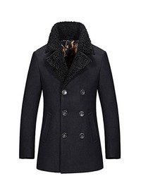 YangguTown Ygt Wool Blend Slim Double Breasted Half Trench Coat Jacket