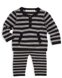Bonpoint Babys Two Piece Wool Striped Top Pants Set