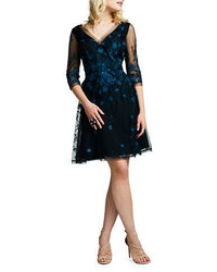 Kay Unger Embroidered Tulle Fit And Flare Cocktail Dress