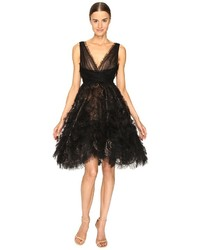 V neck cocktail in tulle w voluminous ruffle skirt dress medium 3644906