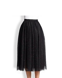 Alice + Olivia Tyn Embellished Tulle Midi Skirt Black Red