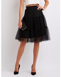 Charlotte Russe Tiered Tulle Full Midi Skirt
