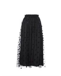 Muveil Polka Dot Tulle Midi Skirt
