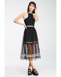 Forever 21 Varsity Striped Tulle Overlay Skirt