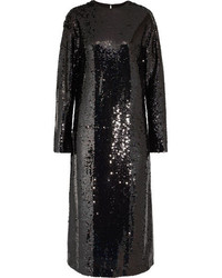 MCQ Alexander Ueen Sequined Tulle Midi Dress Black