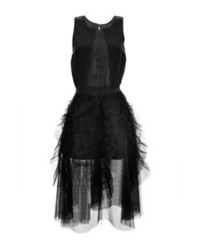 Rochas Black Tulle Sleeveless Dress With Accordion Pleated Skirt Black
