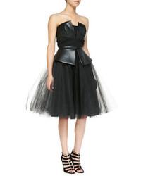 Nha Khanh Leda Leathertulle Strapless Dress