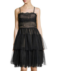 RED Valentino Tiered Lace Tulle Cocktail Dress Black