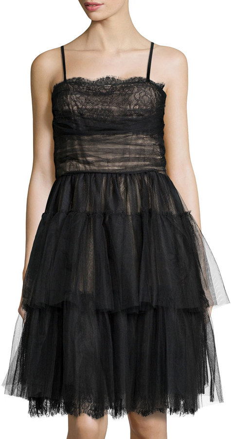 RED Valentino Tiered Lace Tulle Cocktail Dress Black | Where to buy ...