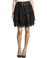 RED Valentino Lace Trimmed Tiered Tulle Skirt Black