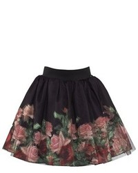 Love Made Love Black Rose Print Tulle Skirt